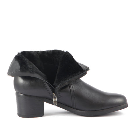 York Fur Straps Ankle Boots (Black)