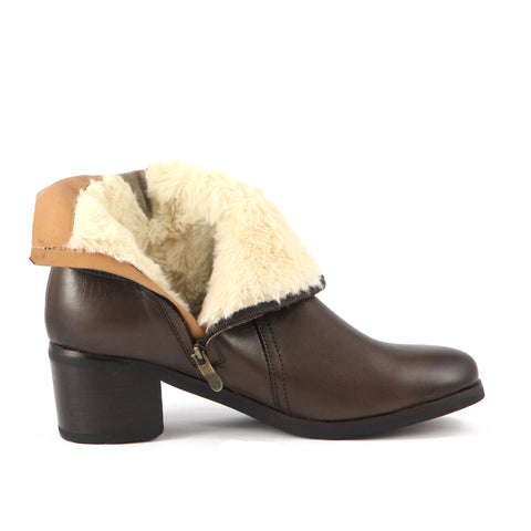 York Fur Straps Ankle Boots (Brown)