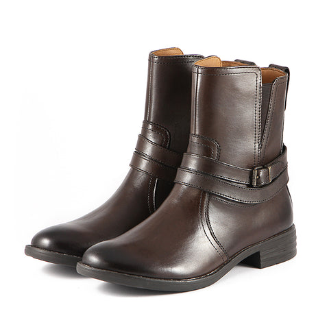 Final-Trapani Straps Ankle Boots (Brown)
