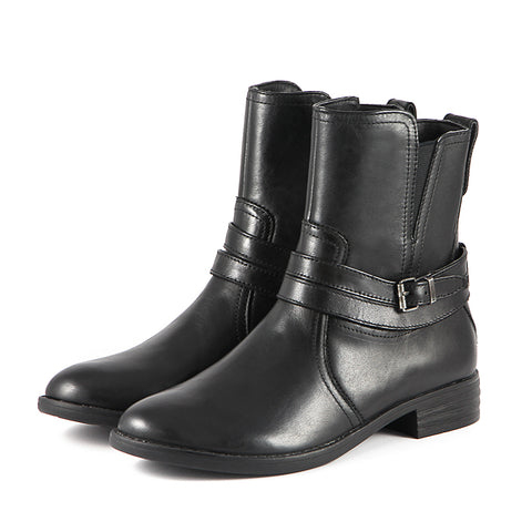 Trapani Water Repellent Straps Ankle Boots (Black)