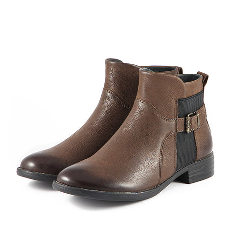 Trapani Elastic Ankle Boots (Brown)