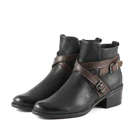 Antwerpen Cross Straps Ankle Boots (Black/Coffee)