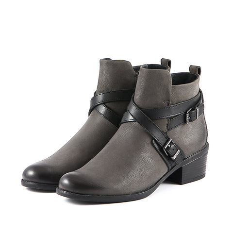 Antwerpen Cross Straps Ankle Boots (Charcoal/Black)