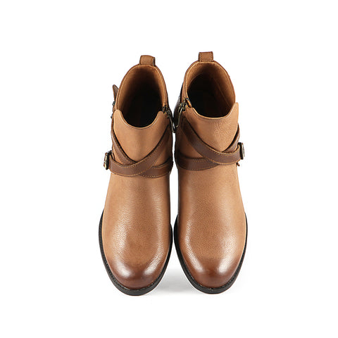 Final-Antwerpen Cross Straps Ankle Boots (Luggage/Russet)