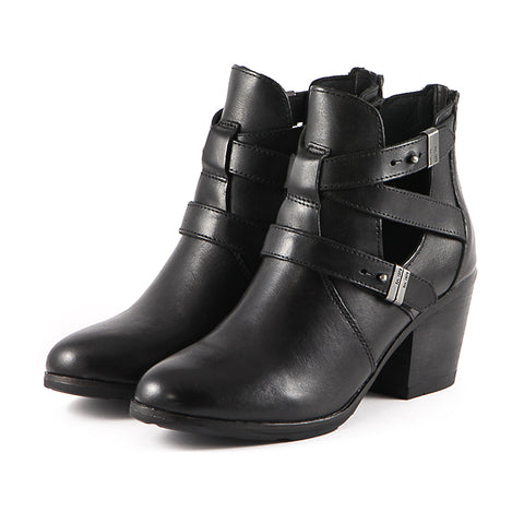 Reikiavik Cut Out Ankle Boots (Black)