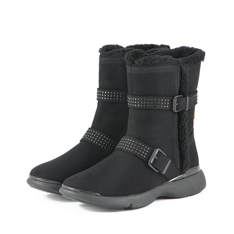 Nagoya Shearling Straps Booties (Black)