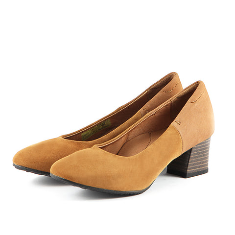 Barbados Block Heel Pumps (Camel)