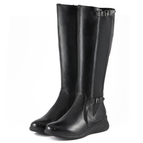 Hamilton Elastic Knee-High Boots (Black)