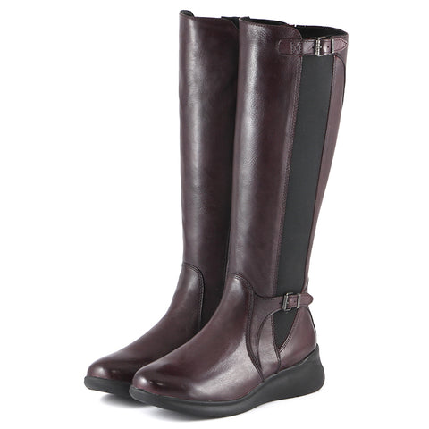 Hamilton Elastic Knee-High Boots (Wine)