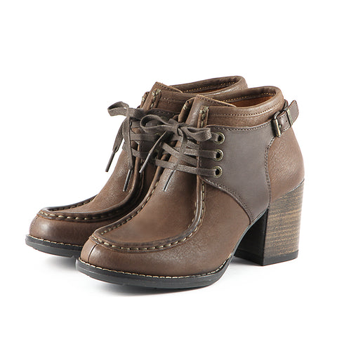 Dawson Chunky Heel Lace-Up Ankle Boots (Brown)