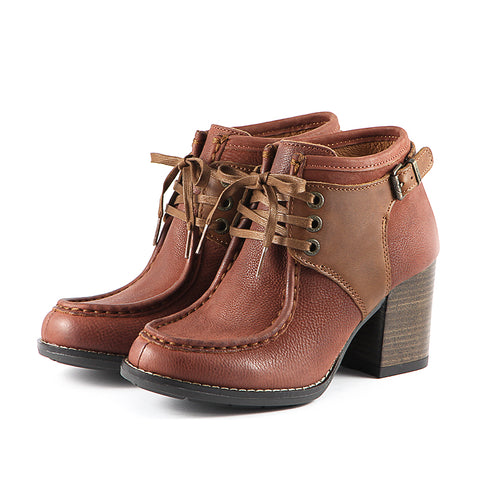 Dawson Chunky Heel Lace-Up Ankle Boots (Russet)