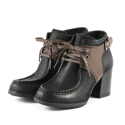 Dawson Chunky Heel Lace-Up Ankle Boots (Black)
