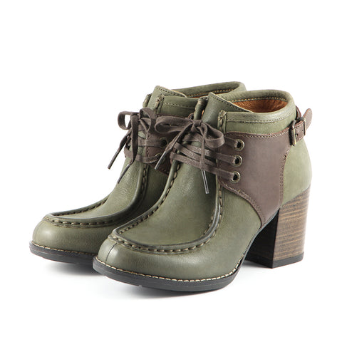 Dawson Chunky Heel Lace-Up Ankle Boots (Military)