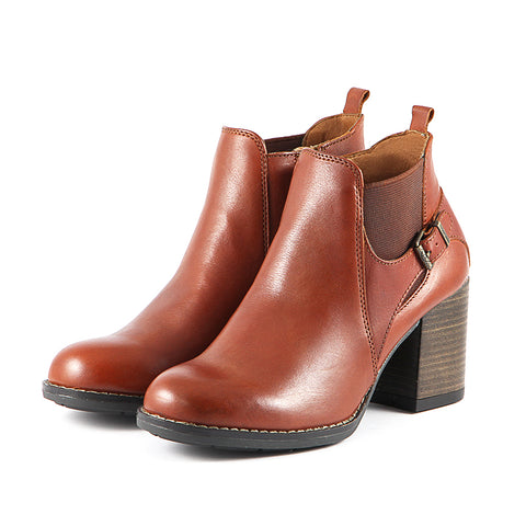 Dawson Chunky Heel Elastic Ankle Boots (Russet)