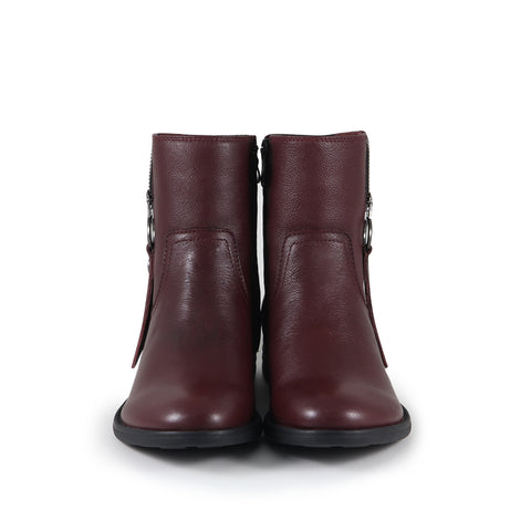 Trapani Zipper Ankle Boots (Merlot)