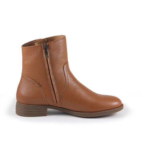 Trapani Zipper Ankle Boots (Camel)