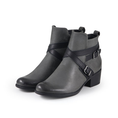 Antwerpen Cross Straps Ankle Boots (Charcoal)