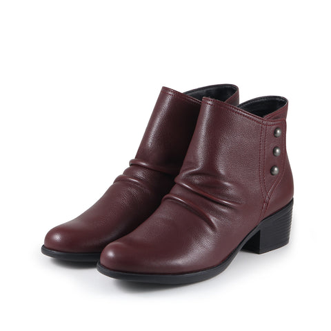 Antwerpen Snap Button Ankle Boots (Merlot)