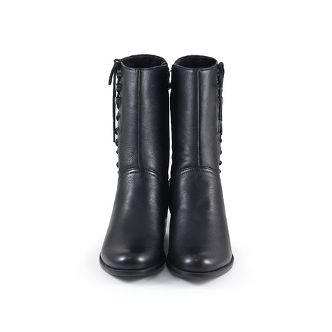 Antwerpen Side Lace-Up Mid-Calf Boots (Black)