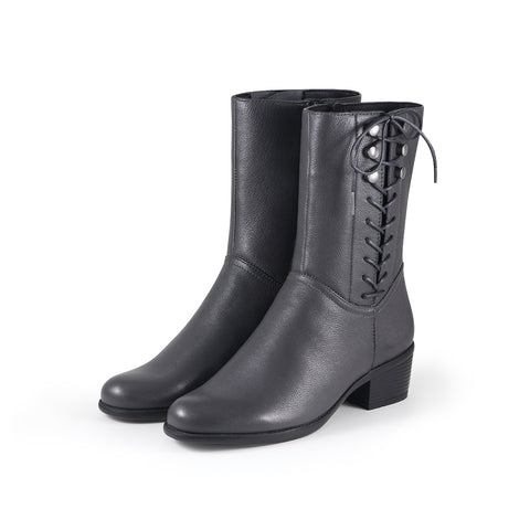 Antwerpen Side Lace-Up Mid-Calf Boots (Charcoal)