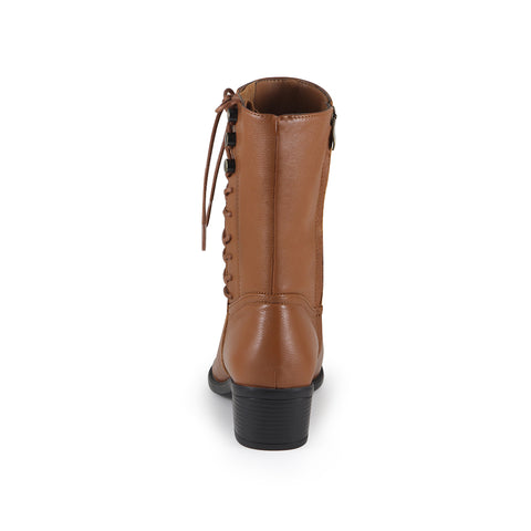 Antwerpen Side Lace-Up Mid-Calf Boots (Camel)