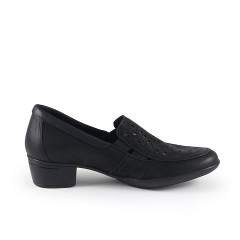 Pavia Perforated Slip-Ons (Black)
