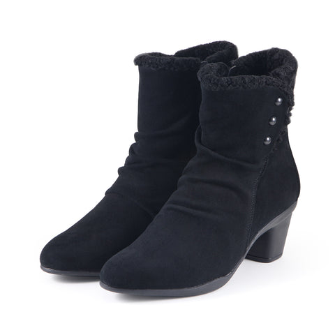 Teslin Snap Button Ankle Boots (Black)