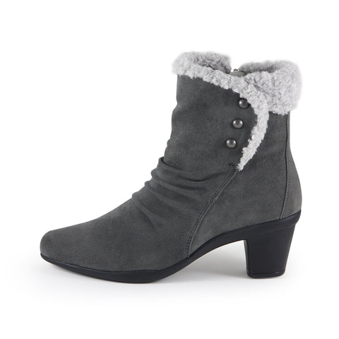 Teslin Snap Button Ankle Boots (Charcoal)