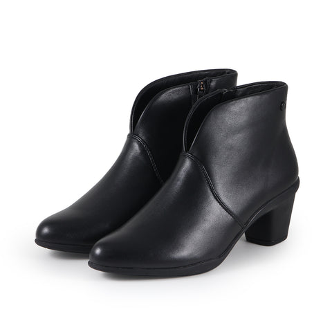 Teslin V-Neck Ankle Boots (Black)