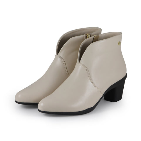 Teslin V-Neck Ankle Boots (Cream)