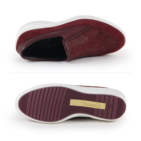 Yokohama Crystal Slip-On Sneakers (Merlot)