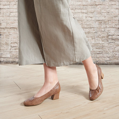 Barbados Block Heel Pumps (Taupe)