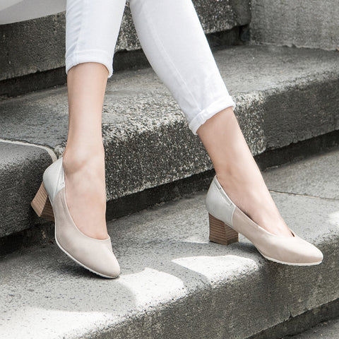 Barbados Block Heel Pumps (Cloud/Oyster)