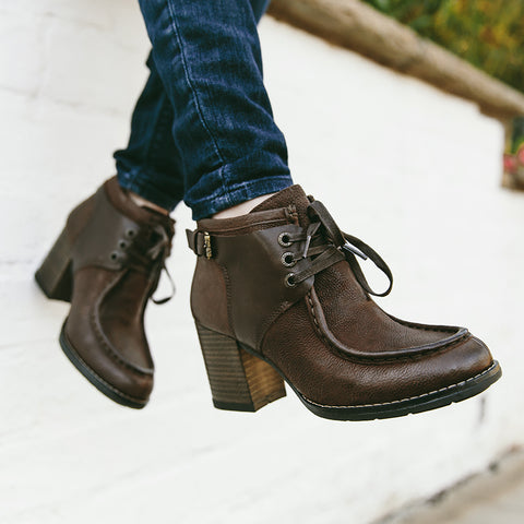 Final: Dawson Chunky Heel Lace-Up Ankle Boots (Brown)