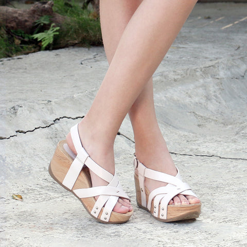 Formentera Cross Strap Flatform Sandals (Blush)