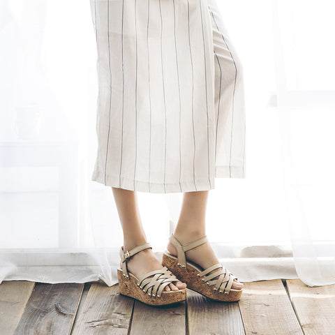 Mansfield Woven Platform Wedges (Doeskin)