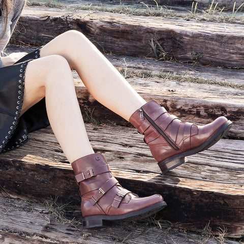 Prague Straps Short Booties (Corten)