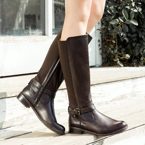 Sevilla Elastic Knee-High Boots (Coffee)