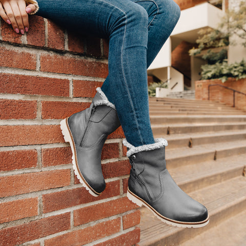 Kalahari Zipper Ankle Boots (Charcoal)