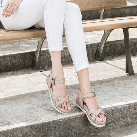 Potsdam Ankle Strap Sandals (Taupe)