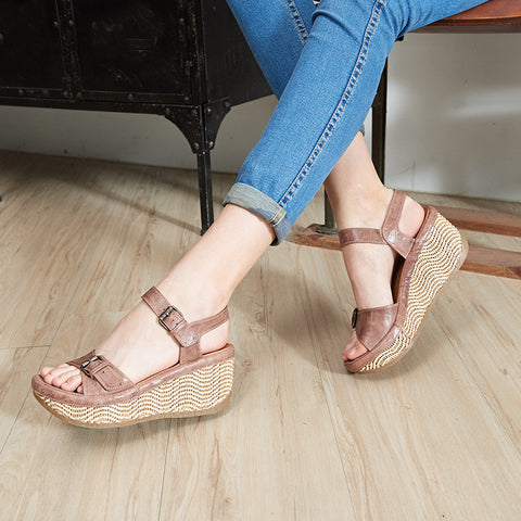 Trinidad Ankle Straps Wedge Sandals (Blush)