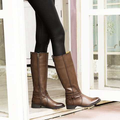 Trapani Straps Knee-High Boots (Luggage)