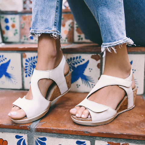 Nice Velcro Wedge Sandals (Doeskin)