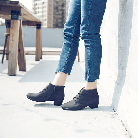 Pavia Lace-Up Ankle Boots (Black)
