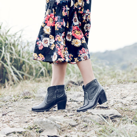 Reikiavik Woven Ankle Boots (Black)