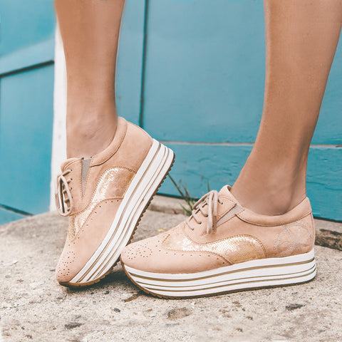 Bess Flatform Oxfords (Blush)