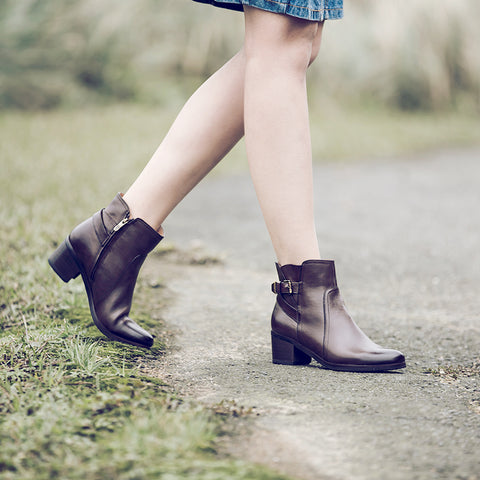 York Straps Ankle Boots (Brown)