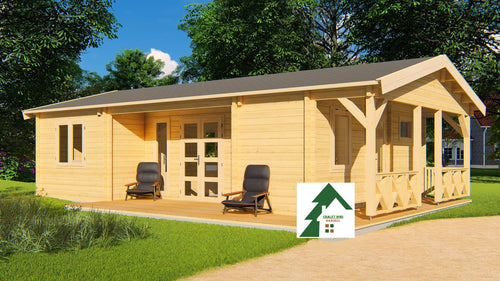 Chalet bois HD/OP de 59.5 M2 En Madriers Massifs De 68 Mm