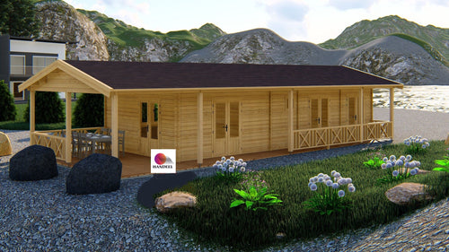 Chalet bois HD/ TO de 83M2 En Madriers Massifs De 44mm