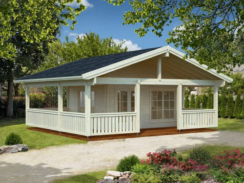 Chalet bois de loisir HD/AG de 18.8m² ( surface habitable) en madriers massifs de 70mm + terrasse couverte de 28m²